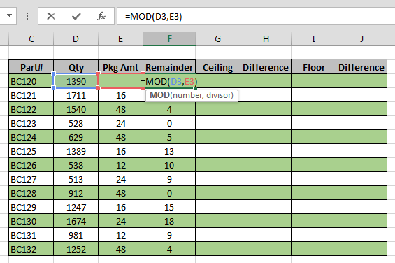 We Can Use CEILING And FLOOR In A Similar Way. Here Iu0027ve Shown The CEILING  Function In Column G And What The Difference Between The Result Of That And  The ...