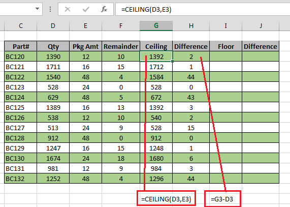 Ceiling floor functions in excel excel bytes for Floor function