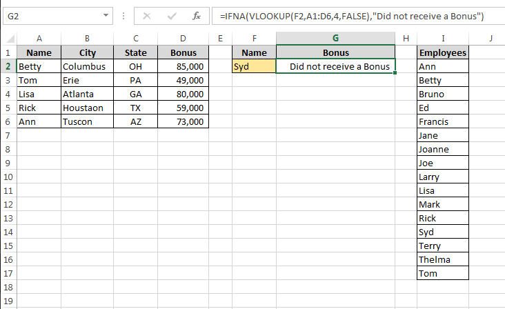 how to avoid n a in vlookup