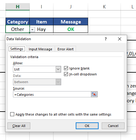 how to create an input message in excel