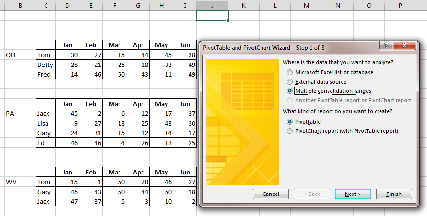 Pivottable From Multiple Ranges In Excel Excel Bytes Expert