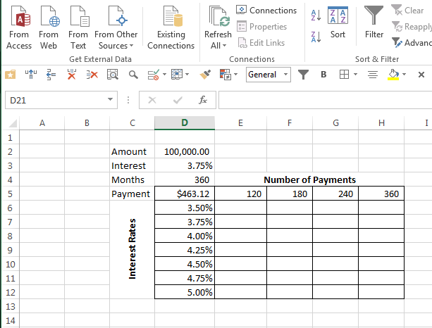 create a variable payment table in excel