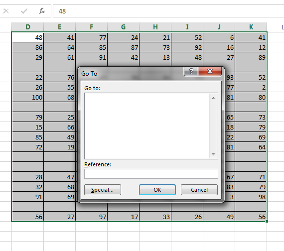 how to look up blank cells in excel